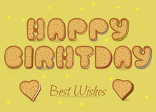 Happy birthday. Cookies font Royalty Free Stock Image