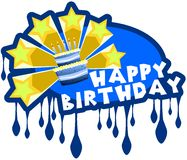 Colorful Happy birthday label with cake isolated Royalty Free Stock Photos