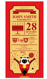 Happy Birthday Cow Farm. Birthday card invitation design Royalty Free Stock Image