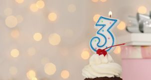 Third Anniversary Happy Birthday Cake With Number 3 Candle Stock