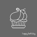 Happy birthday cup cake card line Royalty Free Stock Images