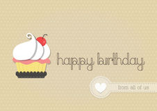 Happy birthday with cup cake Royalty Free Stock Photos