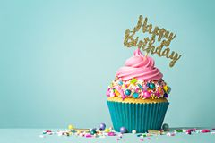 Free Happy Birthday Cupcake Stock Image - 160558421