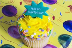 Happy Birthday Cupcake royalty free stock photo