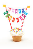 Happy birthday cupcake. With Birthday banner Stock Image