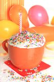 Happy birthday cupcake and candle Royalty Free Stock Photo