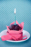 Happy birthday cupcake with candle Royalty Free Stock Image