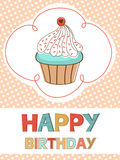 Happy birthday with cupcake card. Cute Happy birthday with cupcake card royalty free illustration