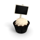 Happy Birthday cupcake with chalkboard signboard label on white royalty free stock image