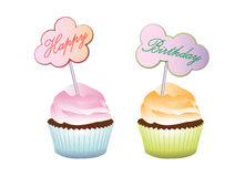 Happy birthday cupcake frosting delicious cake Royalty Free Stock Images
