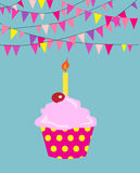 Happy birthday cupcake. EPS10 format vector Royalty Free Stock Photos