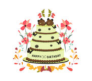 Happy birthday cupcake and florals Royalty Free Stock Photos