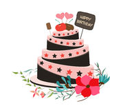 Happy birthday cupcake and florals Royalty Free Stock Photography