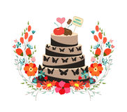 Happy birthday cupcake and florals Stock Photo