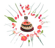 Happy birthday cupcake and florals Stock Photos