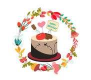 Happy birthday cupcake and florals Royalty Free Stock Images