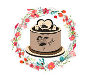 Happy birthday cupcake and florals Royalty Free Stock Image