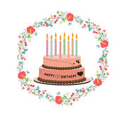 Happy birthday cupcake and florals Stock Photography