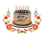 Happy birthday cupcake and florals Stock Images