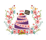 Happy birthday cupcake and florals Royalty Free Stock Photo