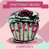 Happy Birthday cupcake.Menu cover. Vector, hand drawn Stock Photo