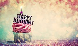 Free Happy Birthday Cupcake On Glitter Colorful Background Stock Photography - 159872612