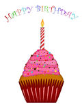 Happy Birthday Cupcake Pink Frosting and Candle Stock Images