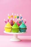 Happy birthday cupcakes royalty free stock photo