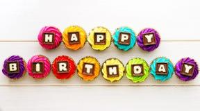 Happy birthday cupcakes Royalty Free Stock Photography