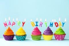 Happy birthday cupcakes Stock Photos