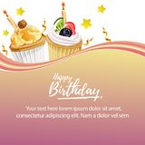 Happy birthday cupcakes template. Additional in vector eps 10 file Stock Images