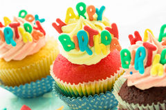 Happy birthday cupcakes Royalty Free Stock Images