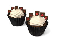 Happy Birthday cupcakes with on whiteboard with red chocolate le Royalty Free Stock Images