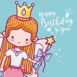 Happy birthday with cute ballet dancer card royalty free illustration