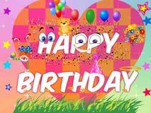 Happy Birthday. Cute Happy Birthday cards for everybody stock illustration