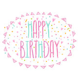 Happy Birthday cute cartoon text with confetti Royalty Free Stock Photography