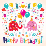 Happy Birthday Cute Elephants Card Stock Photos