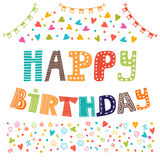 Happy birthday. Cute greeting card with funny design elements Royalty Free Stock Images