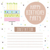 Happy birthday, cute invitation card with cake and flowers. Happy birthday, cute invitation card with cake,candles. Vector illustration Royalty Free Stock Photo