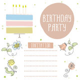 Happy birthday, cute invitation card with cake and flowers. Happy birthday, cute invitation card with cake,candles and flowers. Vector illustration Stock Photo