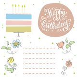 Happy birthday, cute invitation card with cake and flowers.Hand. Happy birthday, cute invitation or greeting  card with cake,candles and flowers. Hand drawn Stock Photos