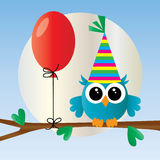 Happy birthday cute little blue owl Stock Image