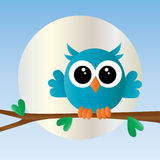 Happy birthday cute little pink owl Stock Images