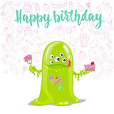 Happy Birthday cute monster card. Royalty Free Stock Photography