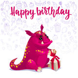 Happy Birthday cute monster card. Stock Image