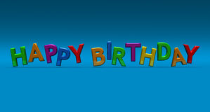 Happy birthday. In 3D lettering in bright colors on a blue background Royalty Free Stock Image