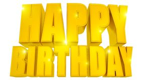 Happy Birthday 3d text gold with stars Royalty Free Stock Photos