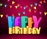Happy birthday 3d vector text with colorful streamers for party. And celebrations in red background. Vector illustration Stock Photography