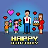 Happy birthday daddy pixel art style vector illustration Royalty Free Stock Image