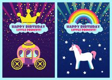 Happy Birthday Dear Princess, Greeting Cards Set. Happy birthday little princess vector, cards greeting birthday-girl with special holiday. Carriage and unicorn royalty free illustration